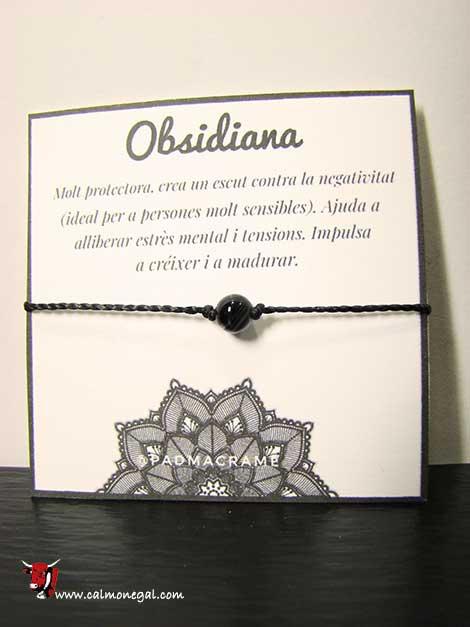 Braçalet obsidiana PADMACRAME